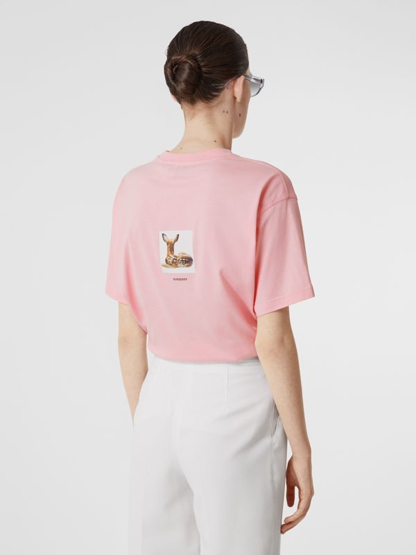Deer Print Cotton T-shirt in Candy Pink - Women | Burberry United Kingdom - cell image 2