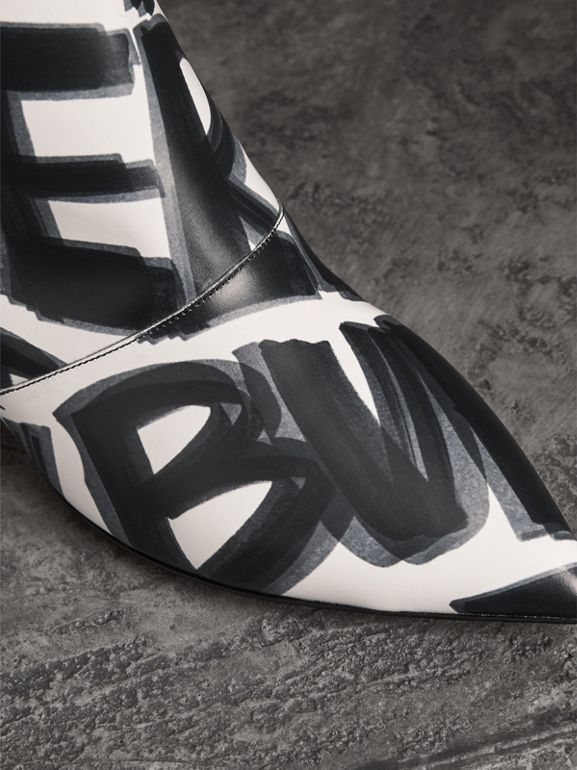 Graffiti Print Leather Ankle Boots in Optic White - Women | Burberry - cell image 1