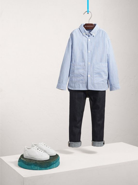 Directional Stripe Cotton Linen Shirt in Pale Blue/white