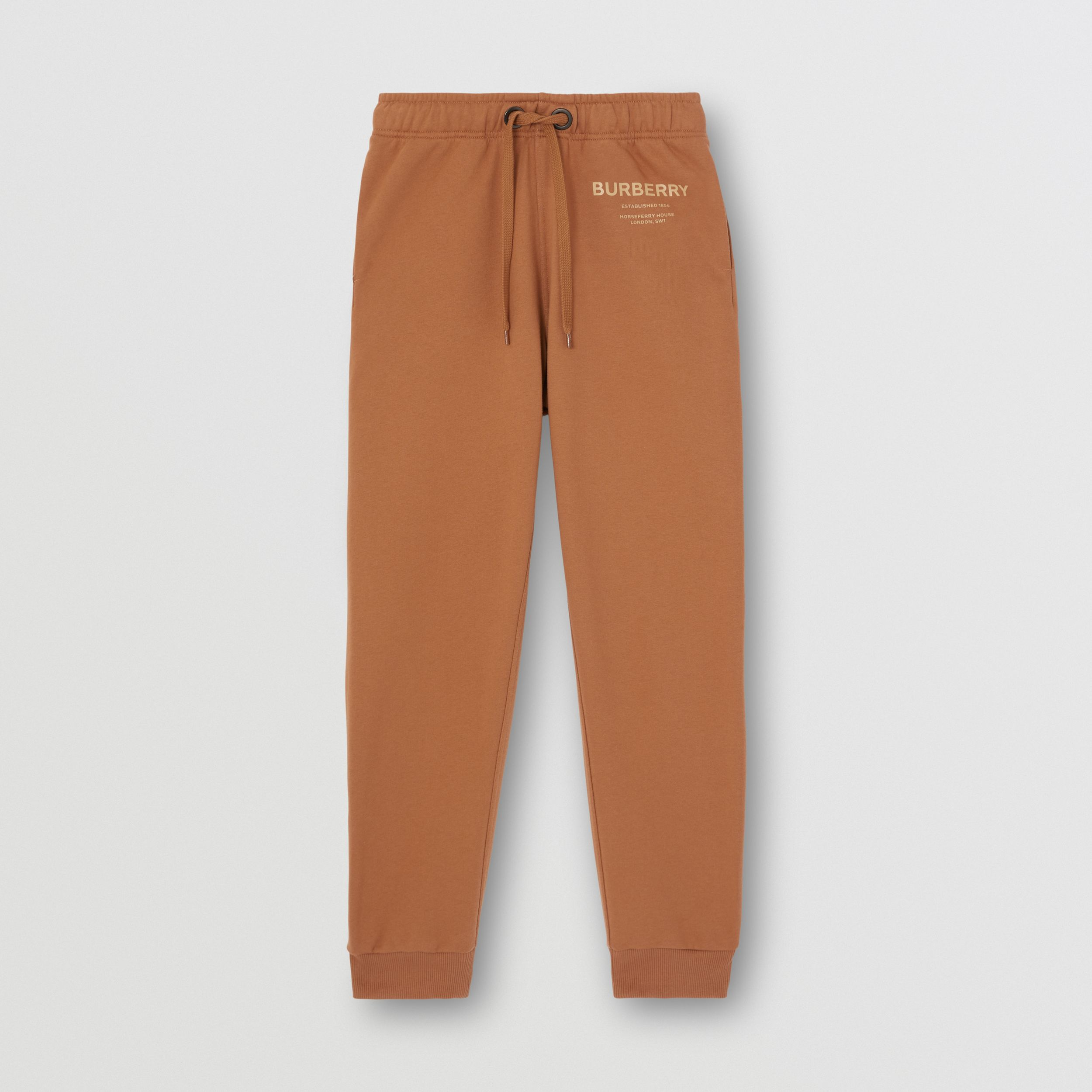 Horseferry Print Cotton Jogging Pants in Camel - Women | Burberry - 4