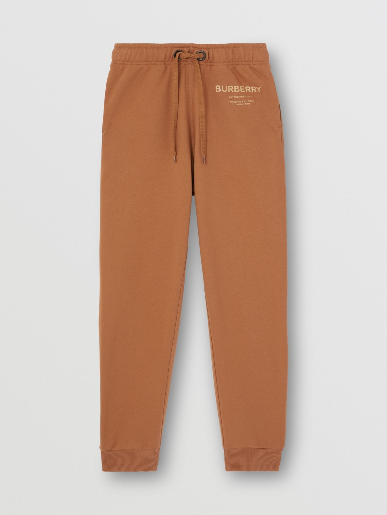 Horseferry Print Cotton Jogging Pants in Camel