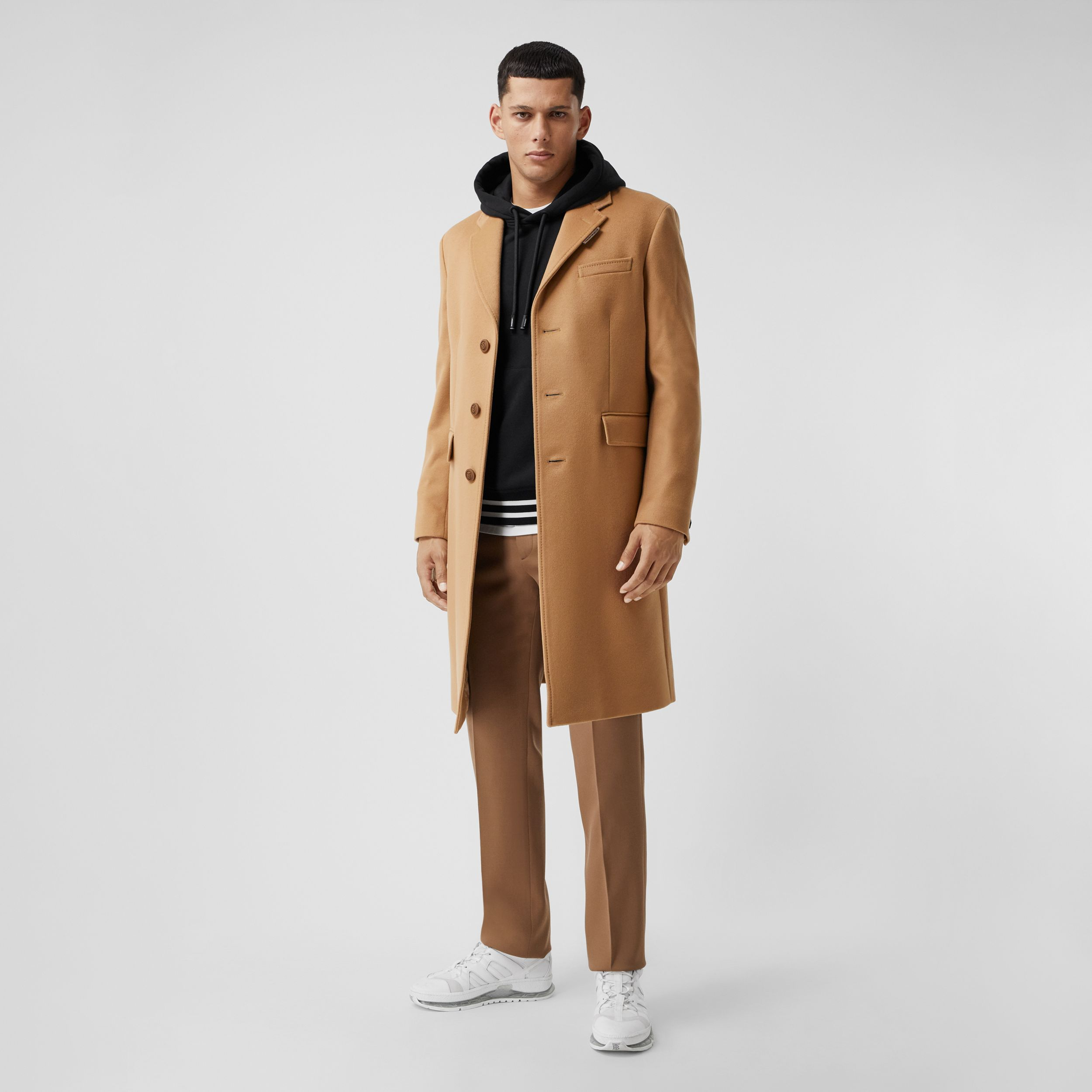 Button Detail Wool Cashmere Tailored Coat in Camel - Men | Burberry - 1