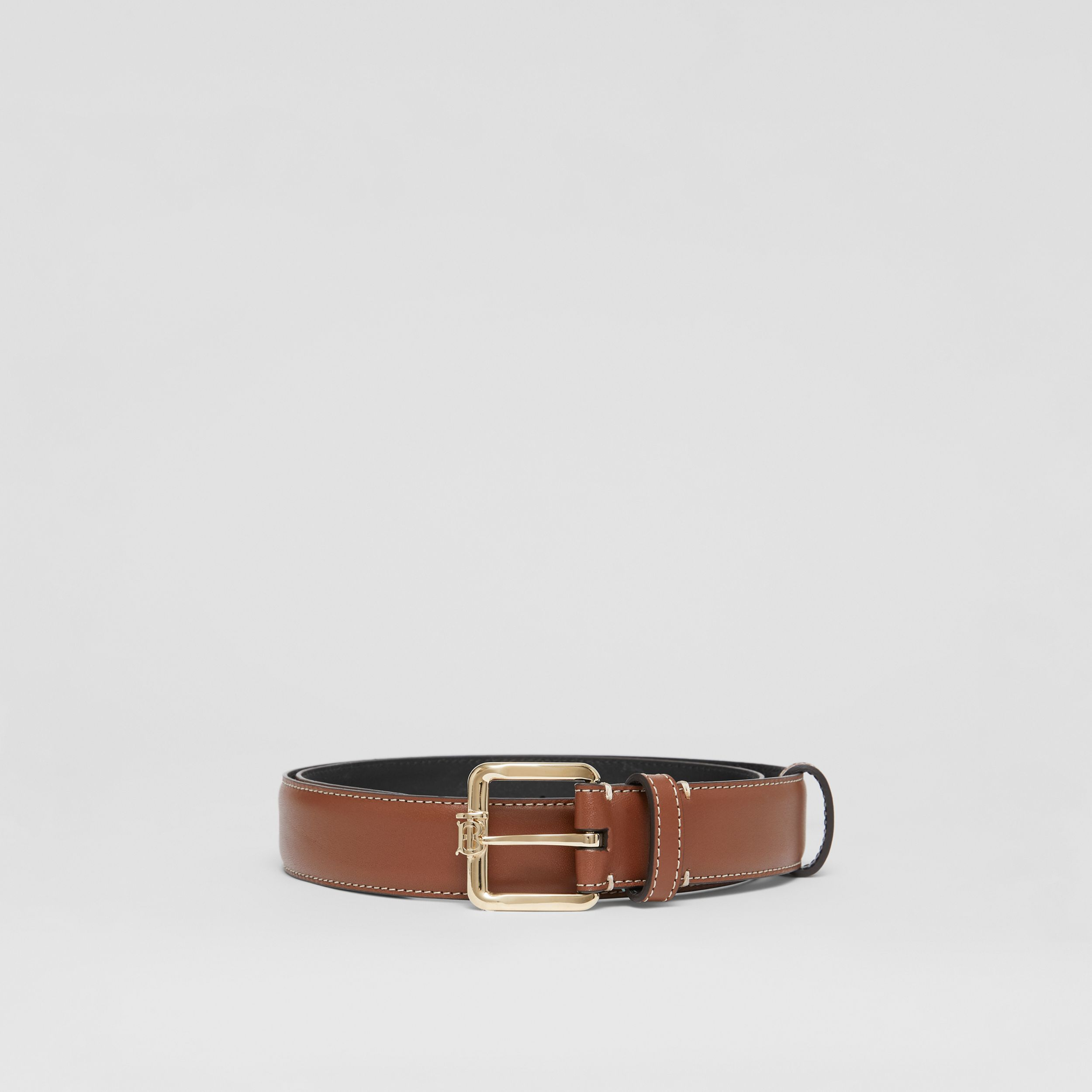 Monogram Motif Topstitched Leather Belt in Tan/light Gold - Women | Burberry - 4