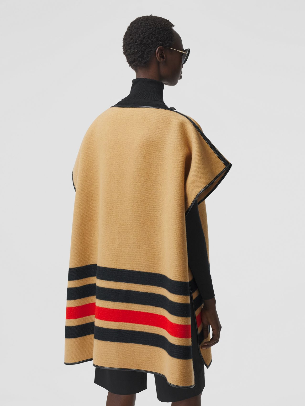 Stripe Detail Merino Wool Cashmere Cape in Archive Beige