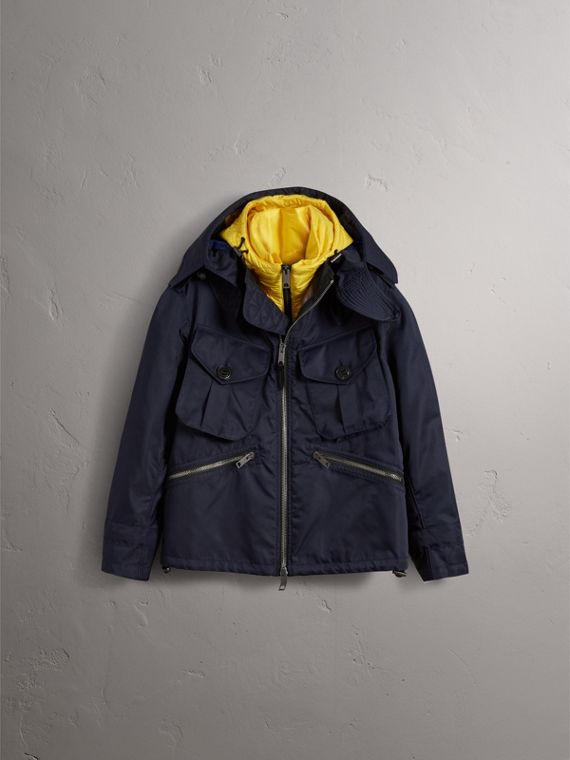 Technical Cropped Parka with Down-filled Warmer in Navy - Men | Burberry - cell image 3