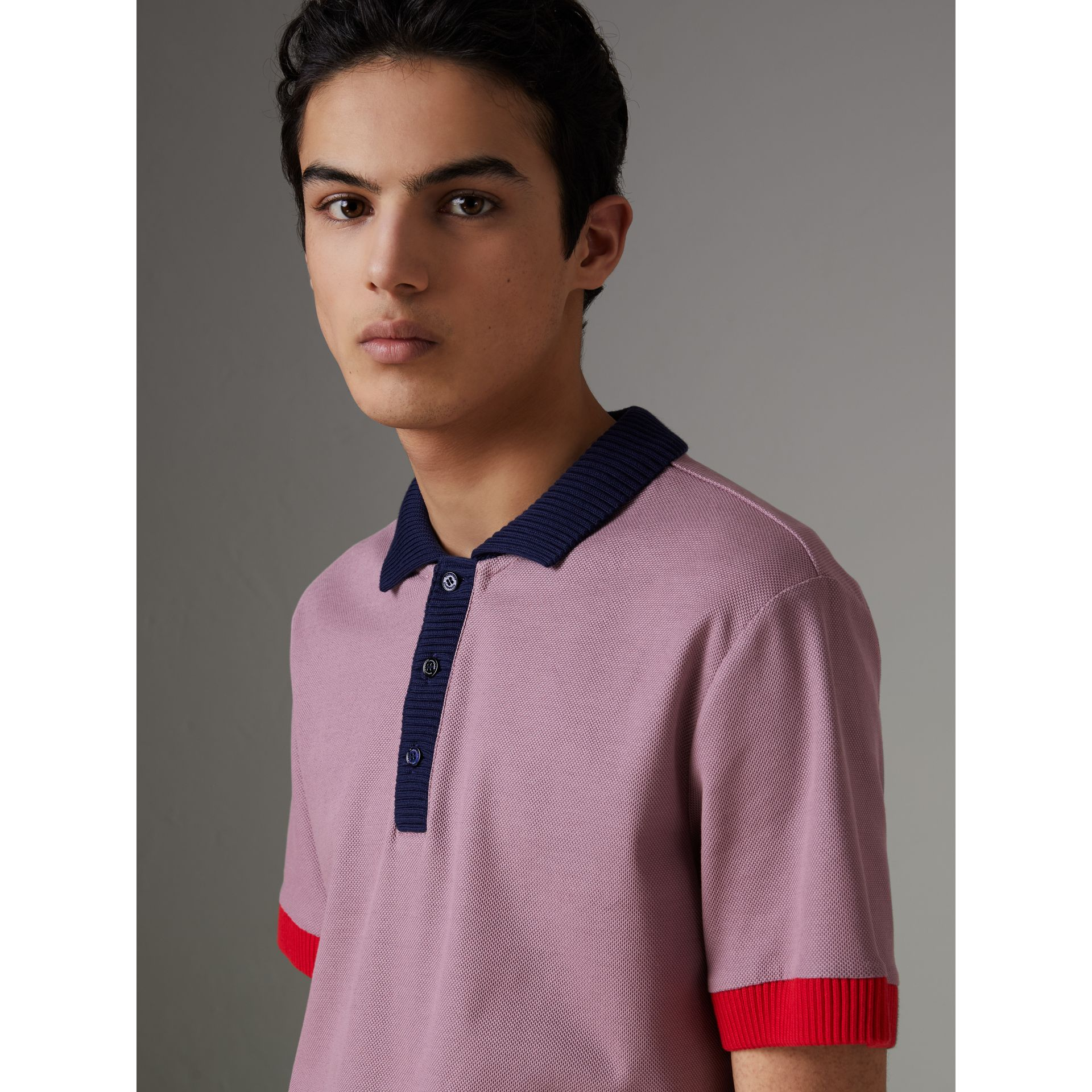 Two-tone Stripe Knitted Detail Cotton Polo Shirt in Heather Pink - Men | Burberry - gallery image 1