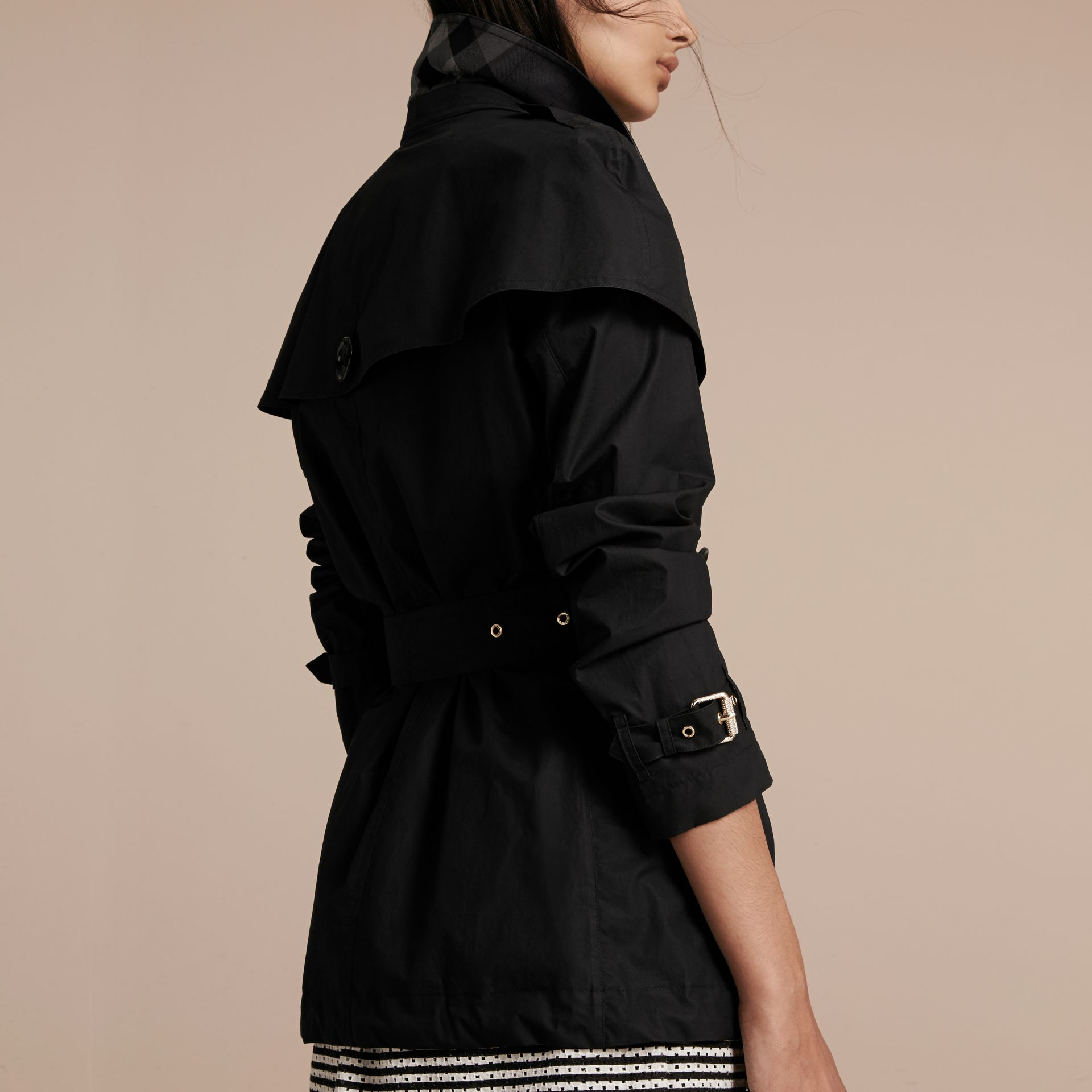 Black Lightweight Cape Detail Cotton Trench Coat Black - gallery image 3
