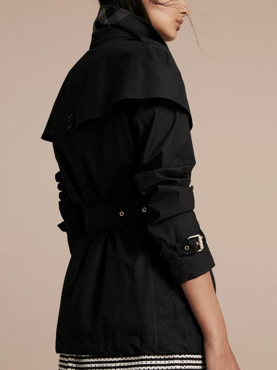 Black Lightweight Cape Detail Cotton Trench Coat Black - cell image 2