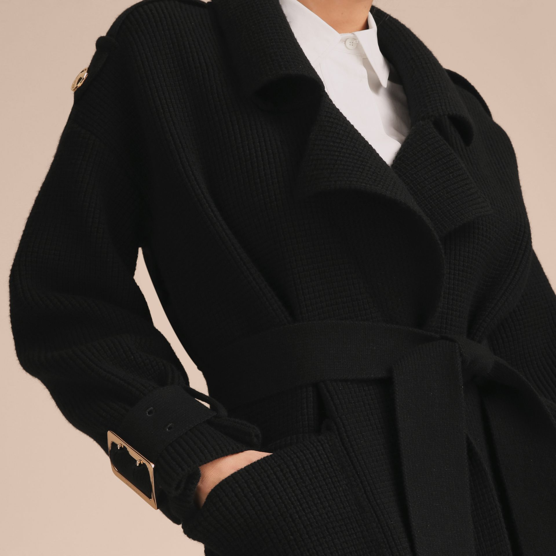 Knitted Wool Cashmere Blend Trench Coat - gallery image 6