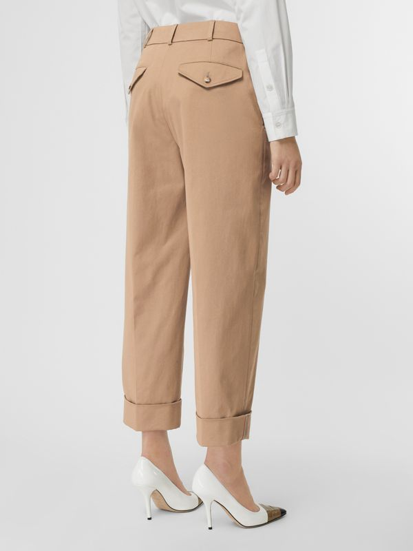 Icon Stripe Detail Stretch Cotton Cropped Trousers in Camel - Women | Burberry - cell image 2