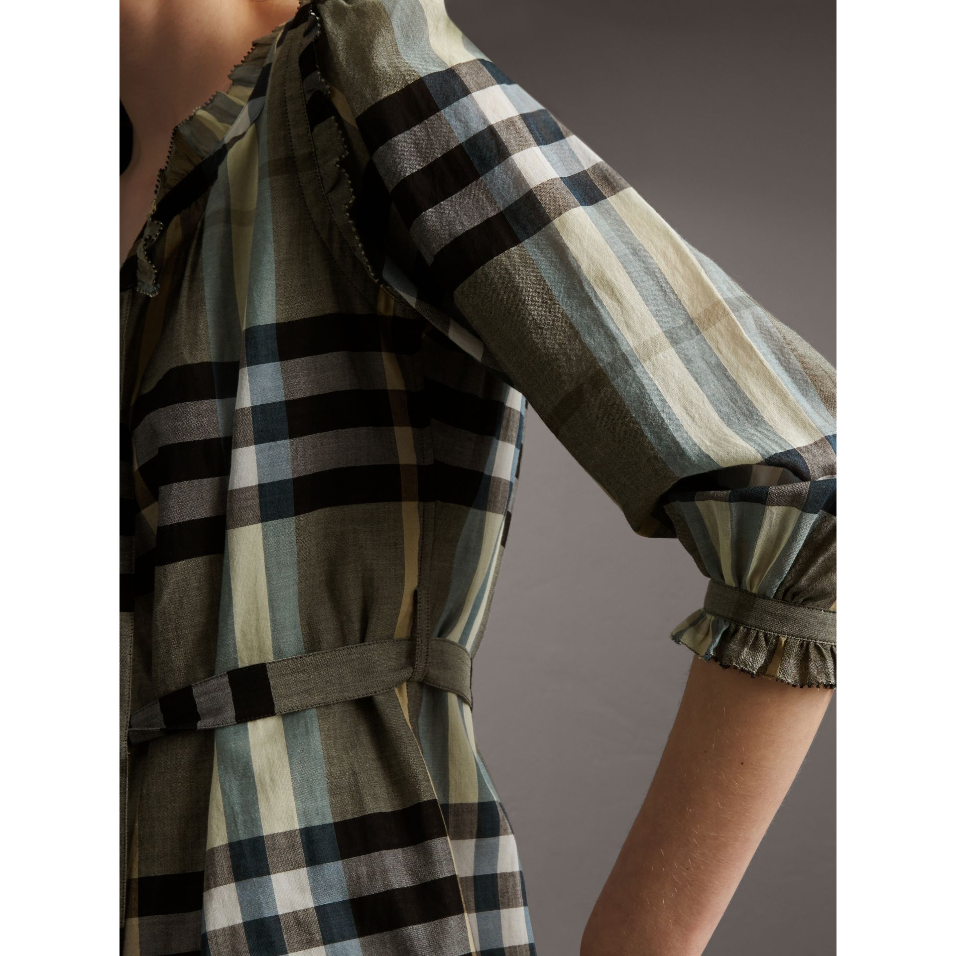 Ruffle Detail Check Cotton Dress - Women | Burberry - gallery image 4