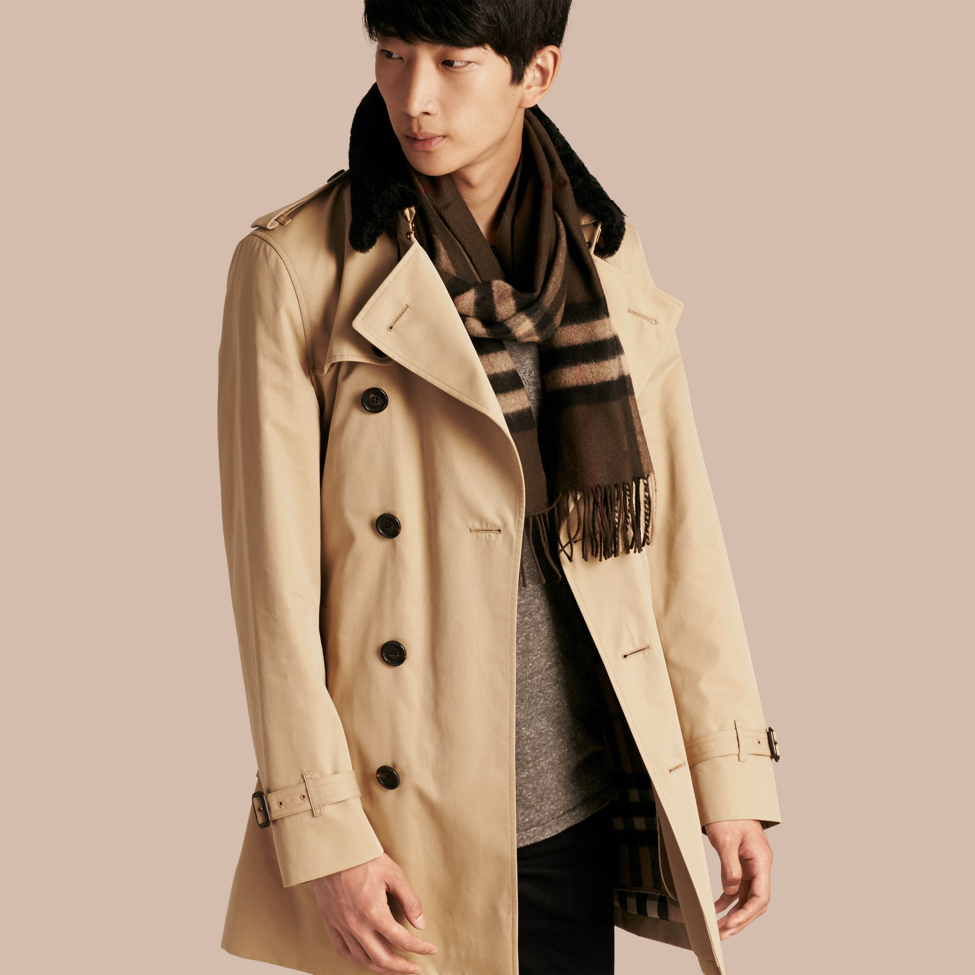 Detachable Shearling Topcollar Cotton Gabardine Trench Coat with Warmer in Honey - gallery image 1