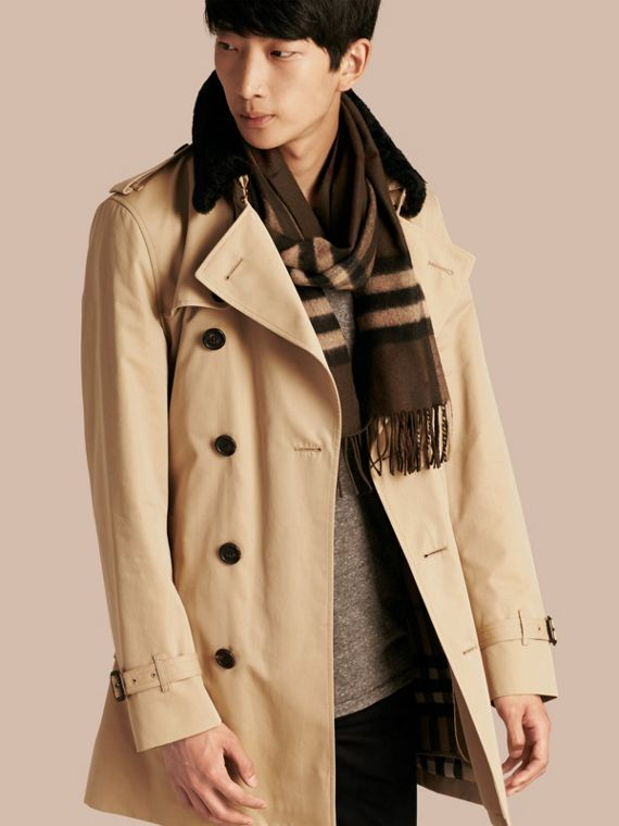 Detachable Shearling Topcollar Cotton Gabardine Trench Coat with Warmer Honey