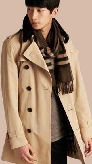 Trench-coat en gabardine de coton avec surcol en shearling et gilet intérieur
