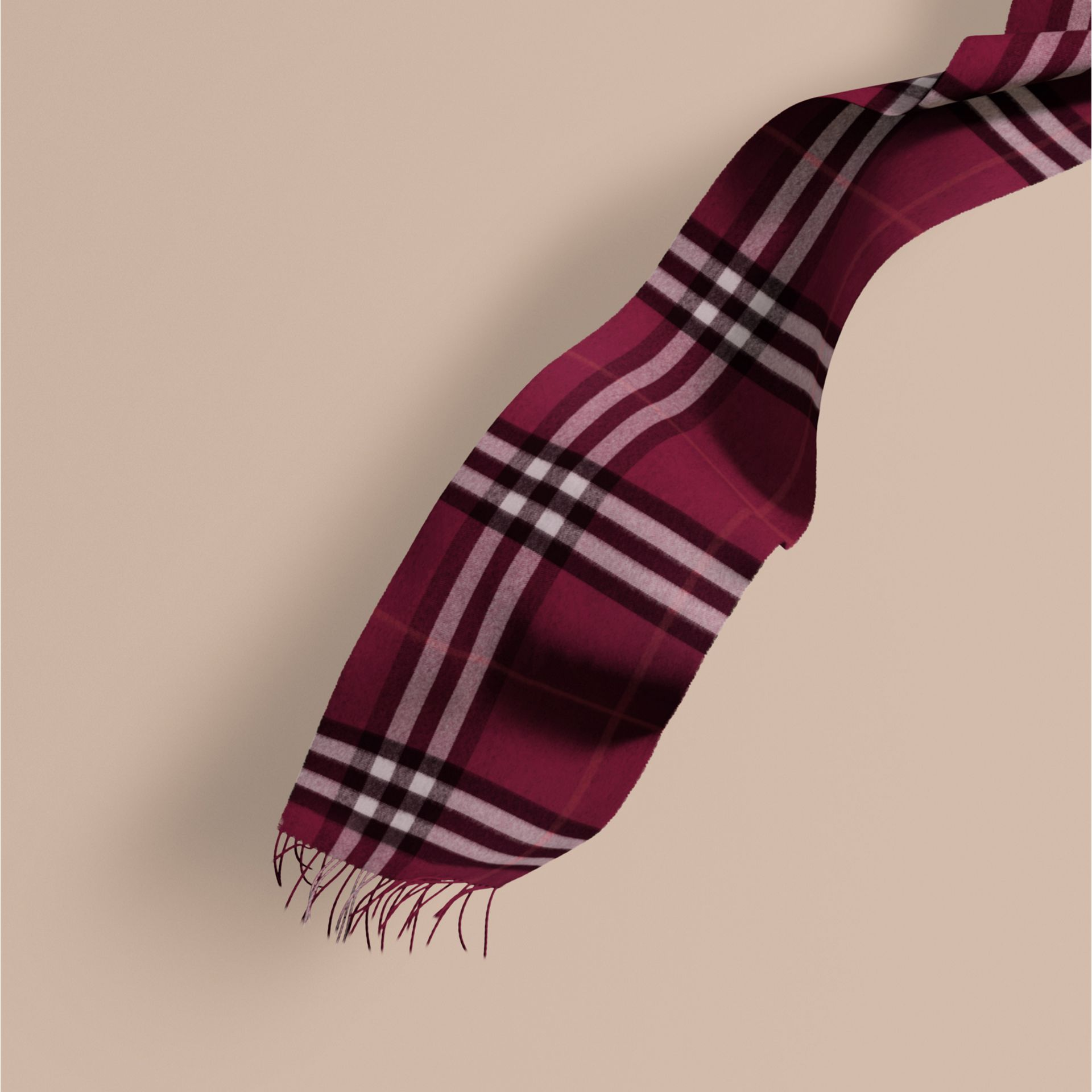 The Classic Cashmere Scarf in Check in Plum | Burberry - gallery image 1