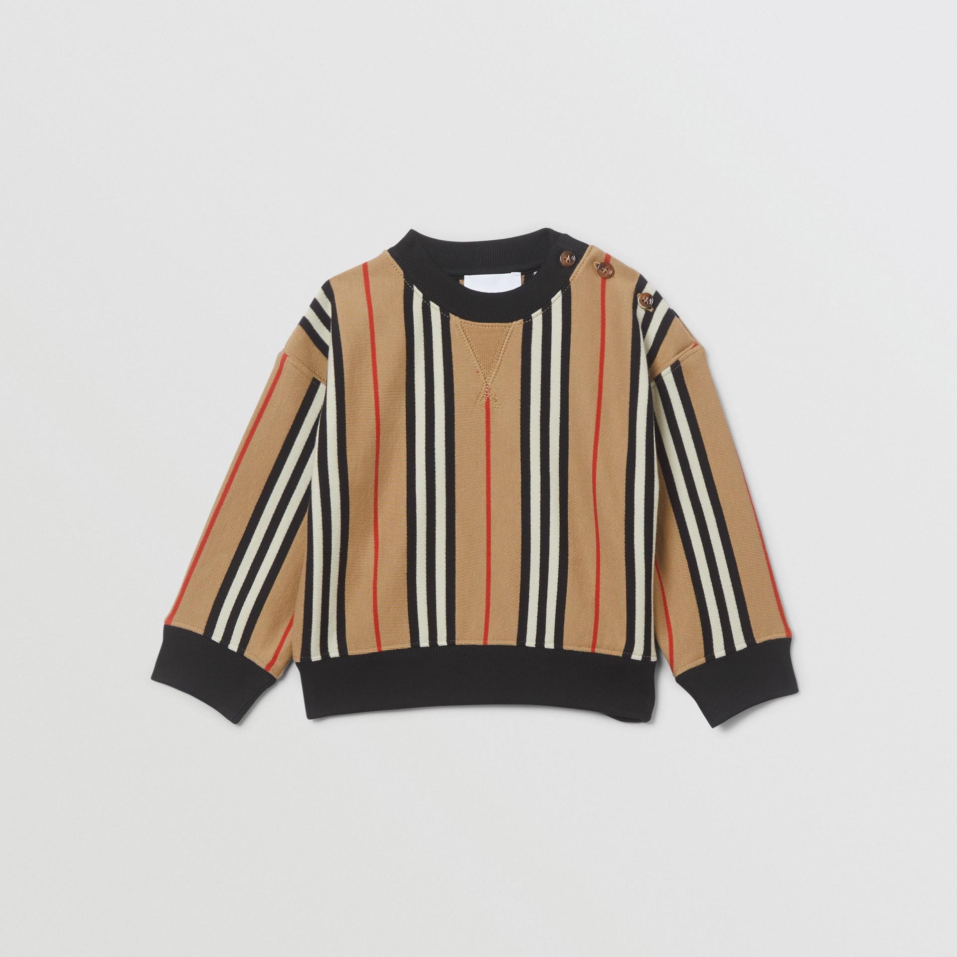 Icon Stripe Cotton Sweatshirt in Archive Beige - Children | Burberry United Kingdom - gallery image 0
