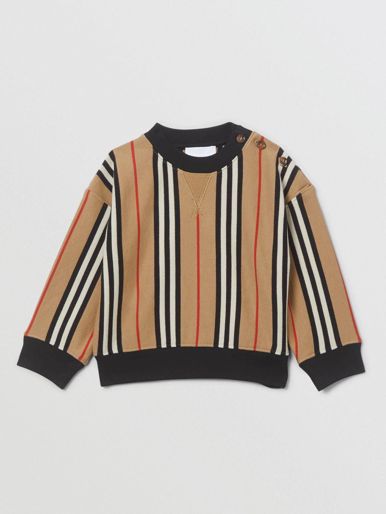 Icon Stripe Cotton Sweatshirt (Archive Beige)