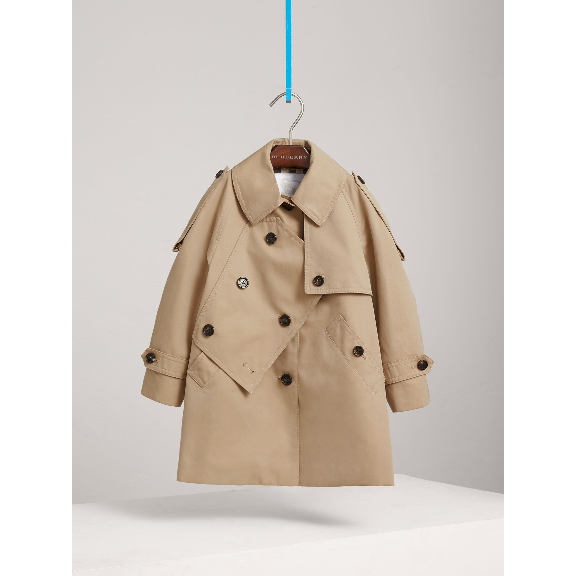 Panel Detail Cotton Gabardine Trench Coat in Honey - Girl | Burberry - gallery image 0