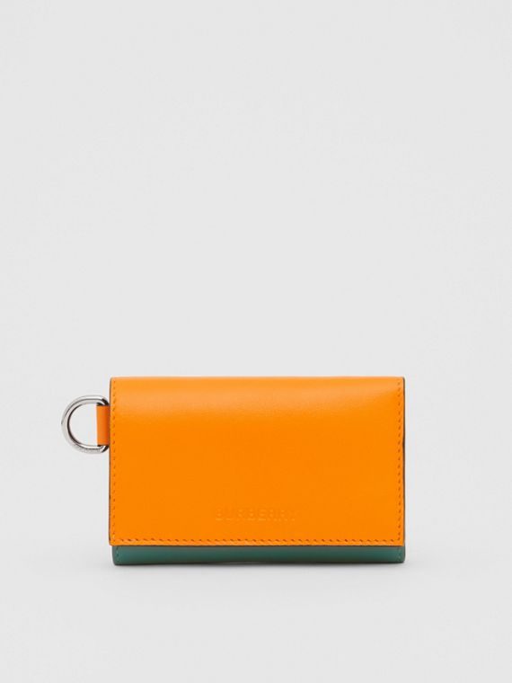 Small Colour Block Leather Folding Wallet in Orange/green