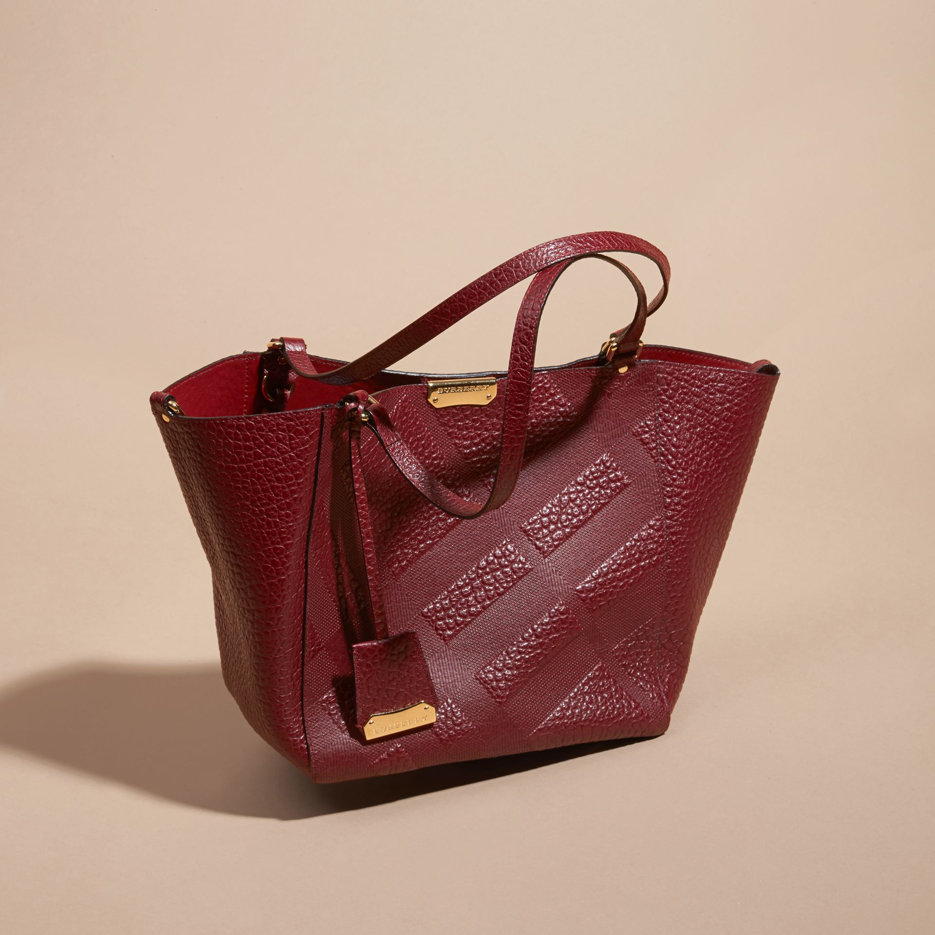 Deep red The Small Canter in Embossed Check Leather Deep Red - gallery image 7