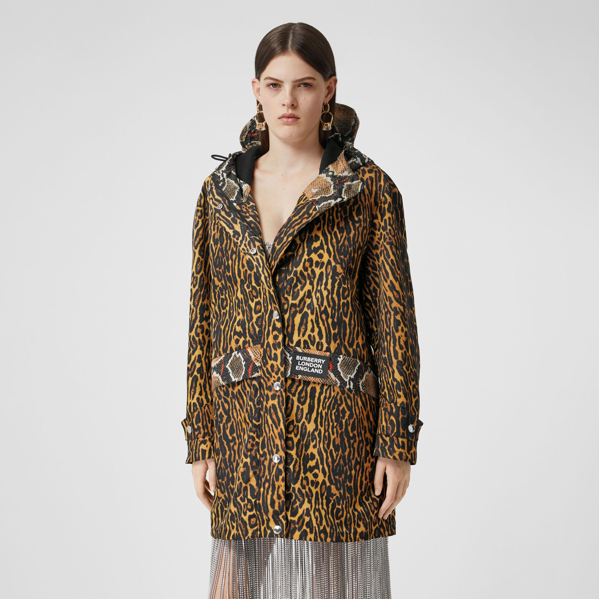 Animal Print Nylon Twill Parka in Honey - Women | Burberry - gallery image 5