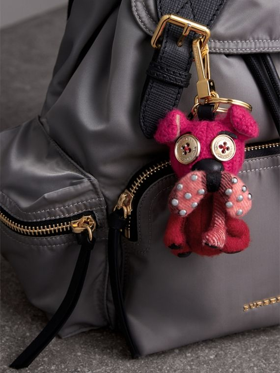 Seymour The Bull Dog Cashmere Charm in Parade Red | Burberry Australia - cell image 2