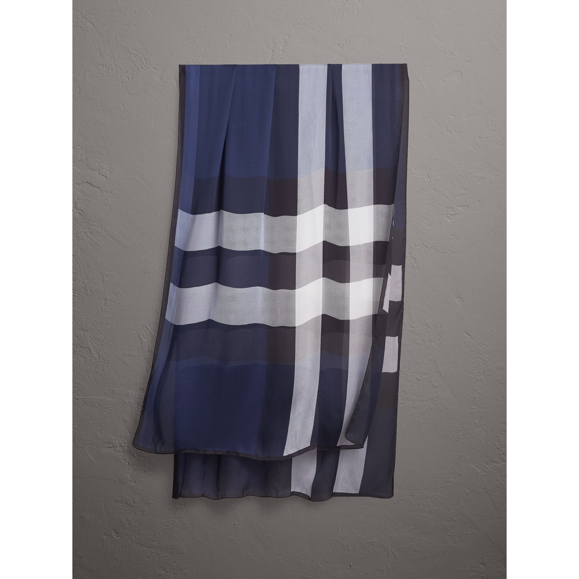 Lightweight Check Silk Scarf in Indigo Blue - Women | Burberry - gallery image 0