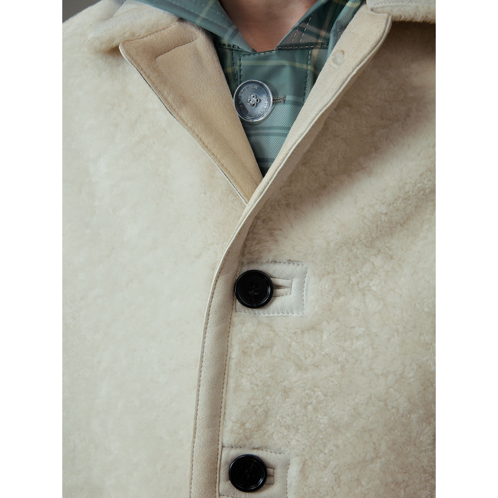 Veste en shearling (Blanc) - Homme | Burberry - photo de la galerie 1