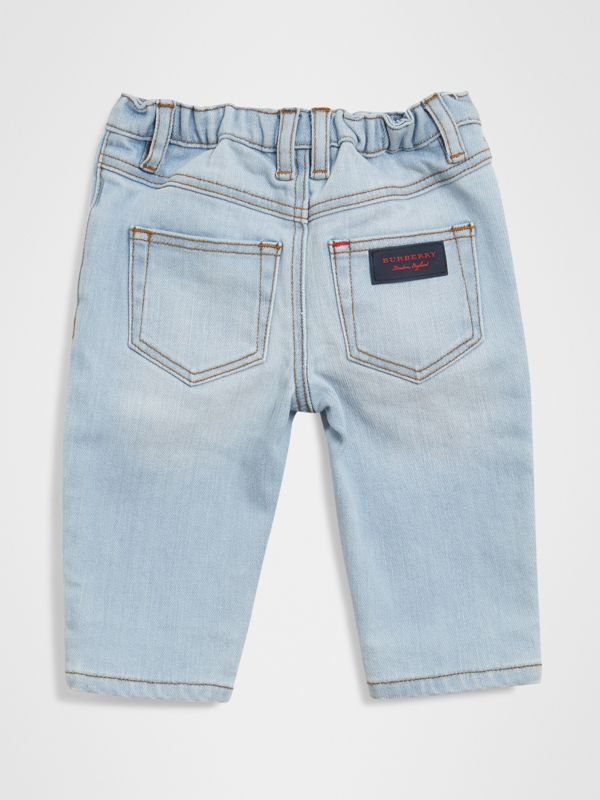 Relaxed Fit Stretch Jeans in Light Blue - Children | Burberry - cell image 3