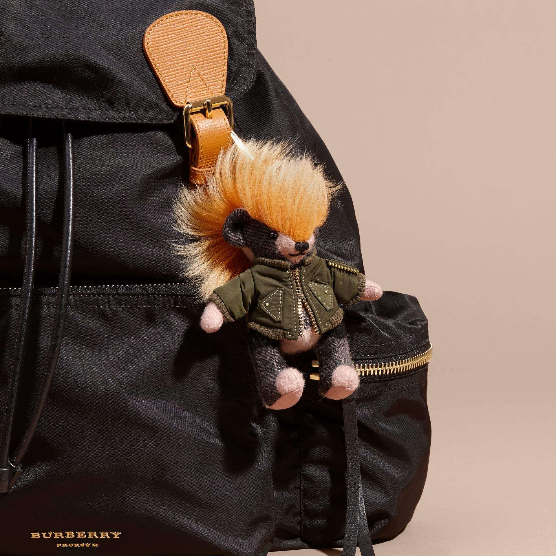 Thomas Bear Charm with Shearling and Pallas Heads Appliqué Bomber in Ash Rose - Women | Burberry Australia - gallery image 3