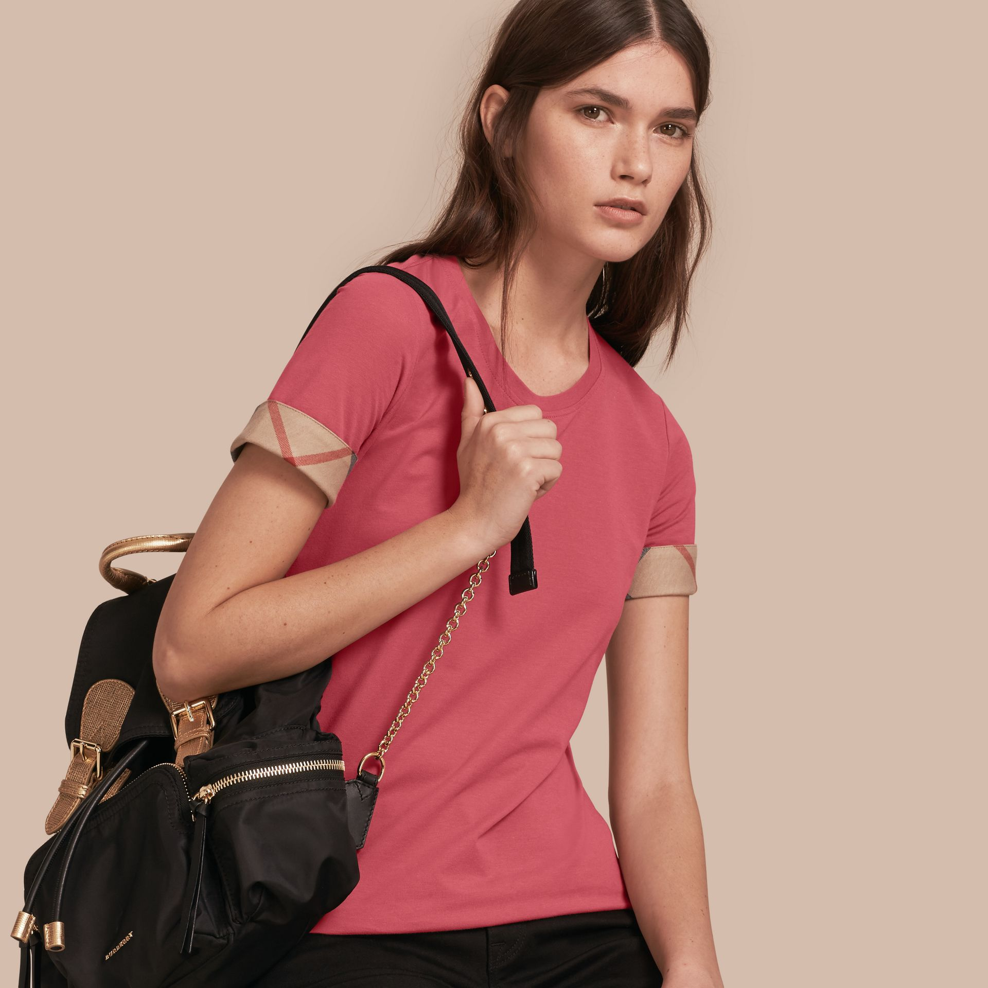 Check Trim Stretch Cotton T-shirt Pink Azalea - gallery image 1