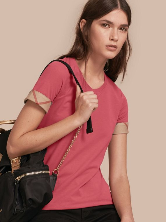 T-shirt in cotone stretch con finiture tartan Rosa Azalea