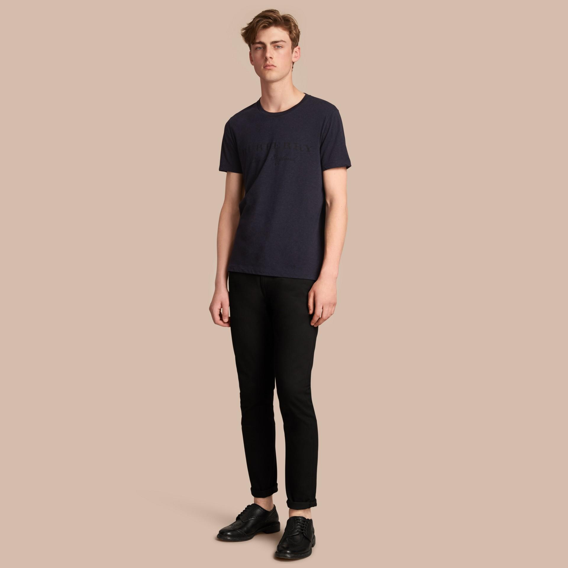 Contrast Motif Cotton Blend T-shirt Navy Melange - gallery image 1