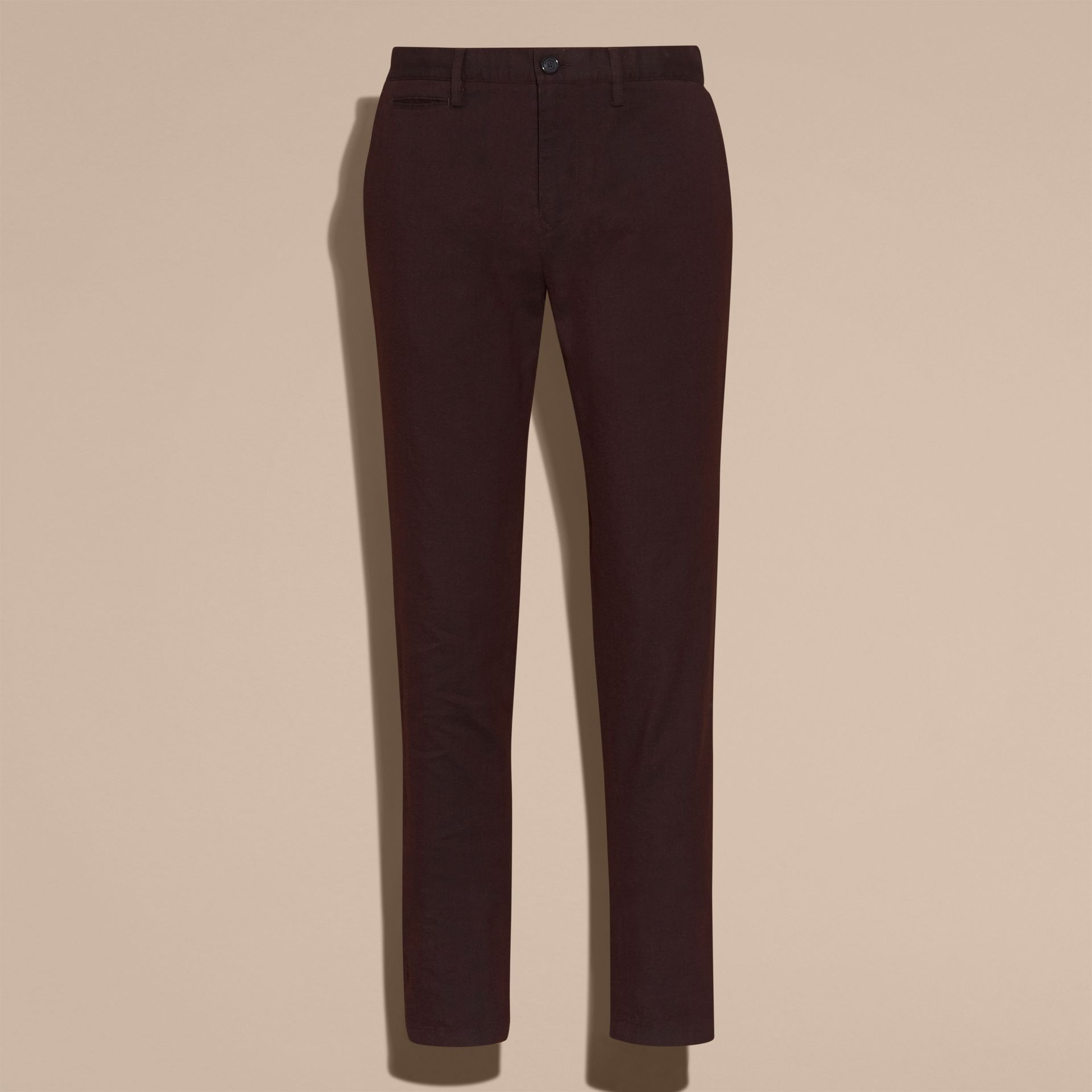 Deep claret Tailored Cotton Wool Blend Trousers - gallery image 4