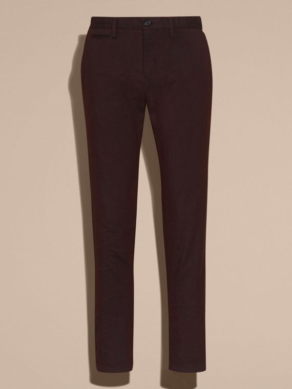 Deep claret Tailored Cotton Wool Blend Trousers - cell image 3