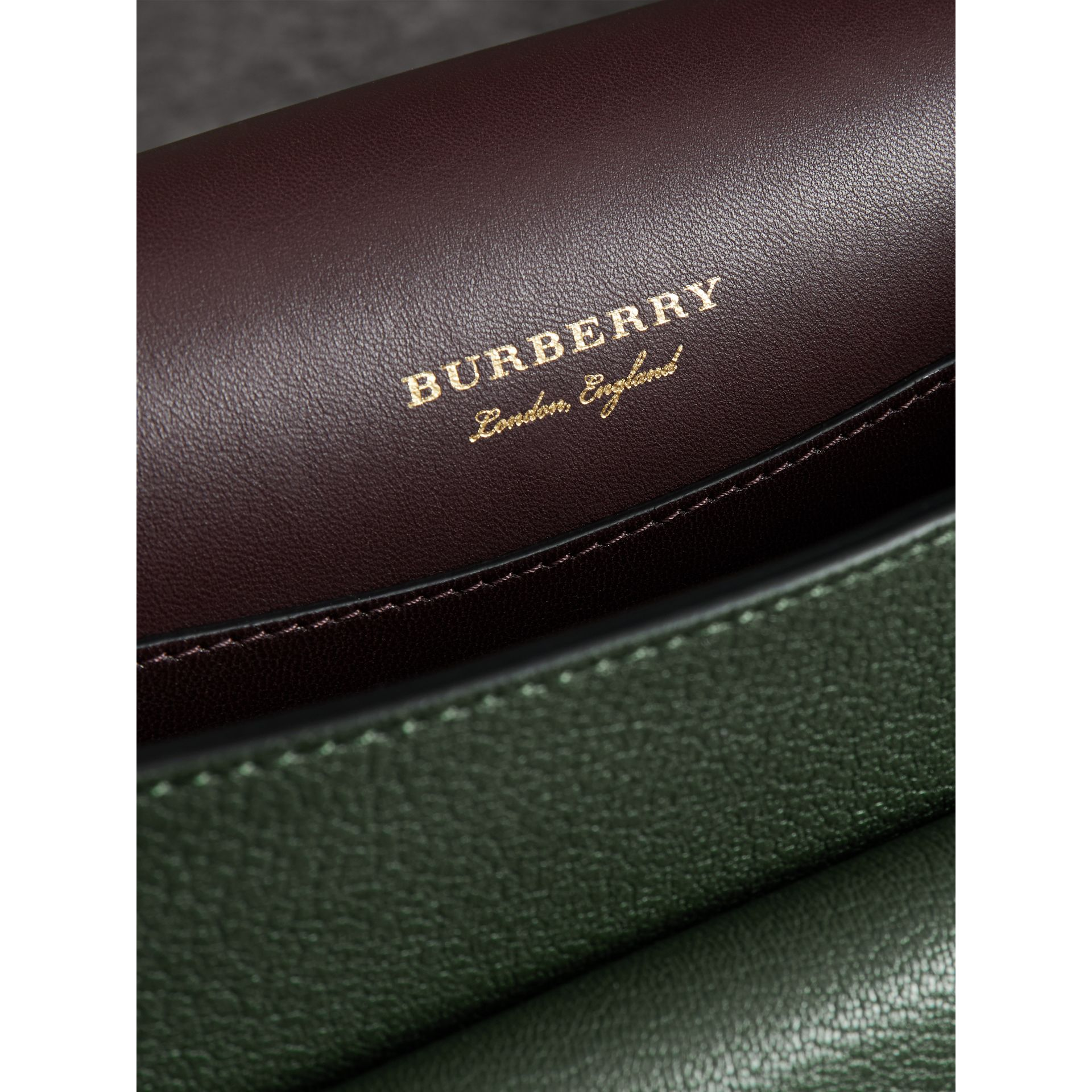 The Square Satchel in Leather in Dark Forest Green - Women | Burberry - gallery image 3