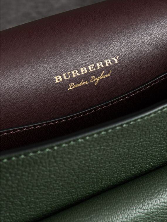 The Square Satchel in Leather in Dark Forest Green - Women | Burberry Australia - cell image 3