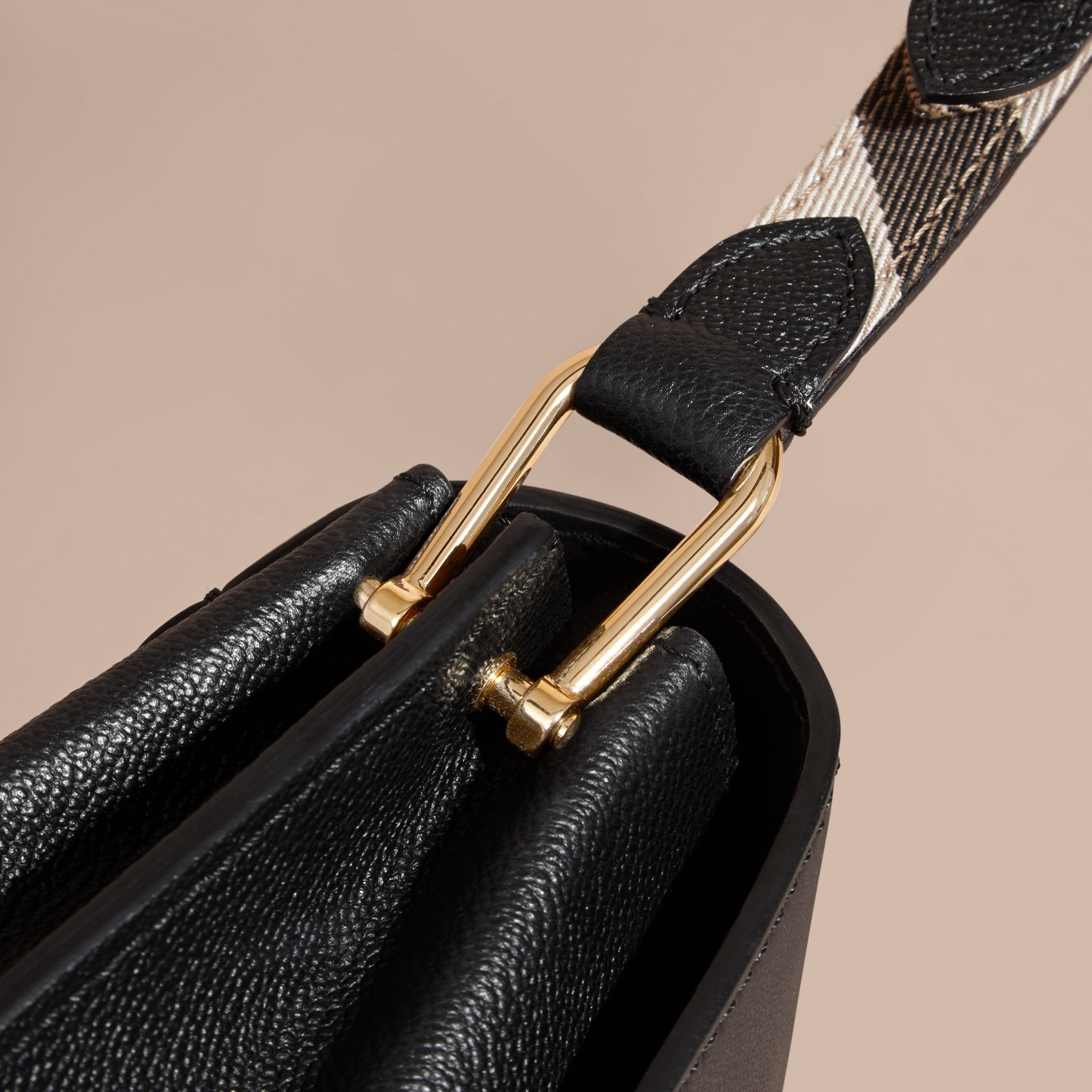 The Buckle Crossbody Bag in Leather Black - gallery image 5