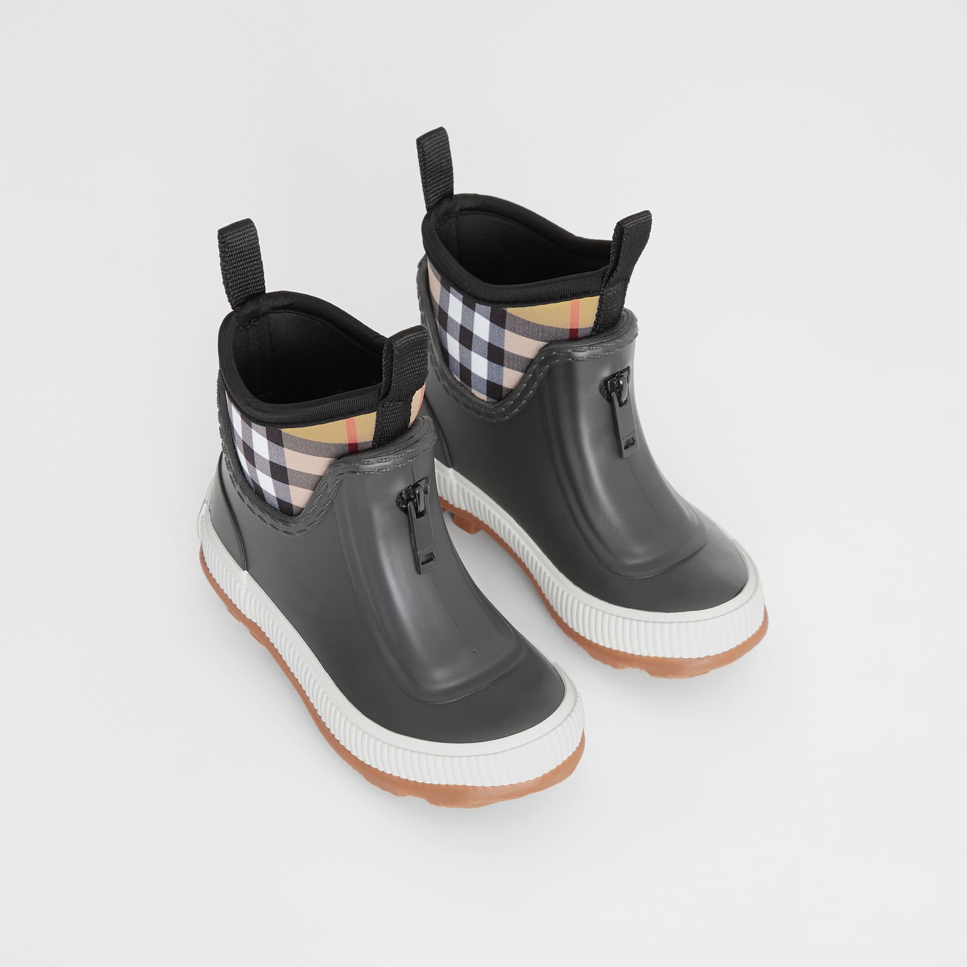 Vintage Check Neoprene and Rubber Rain Boots in Black - Children | Burberry Australia - gallery image 0