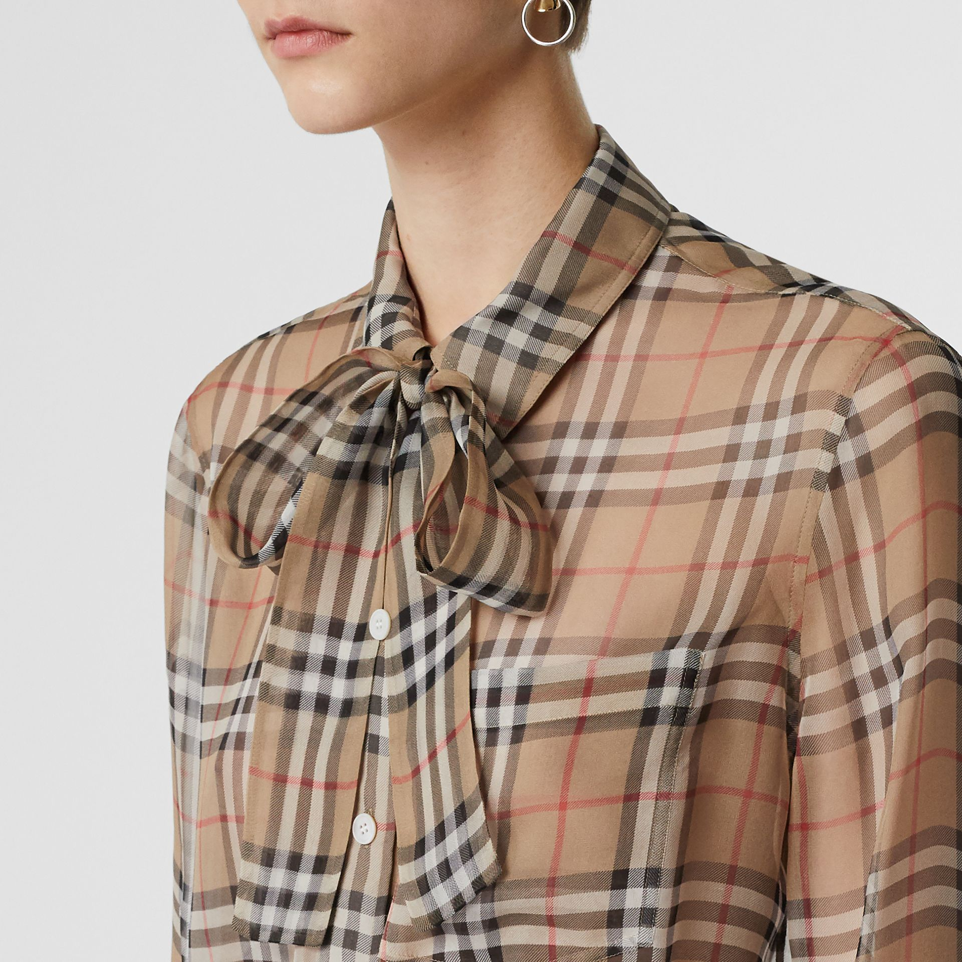 Vintage Check Silk Tie-neck Shirt in Archive Beige - Women | Burberry - gallery image 4