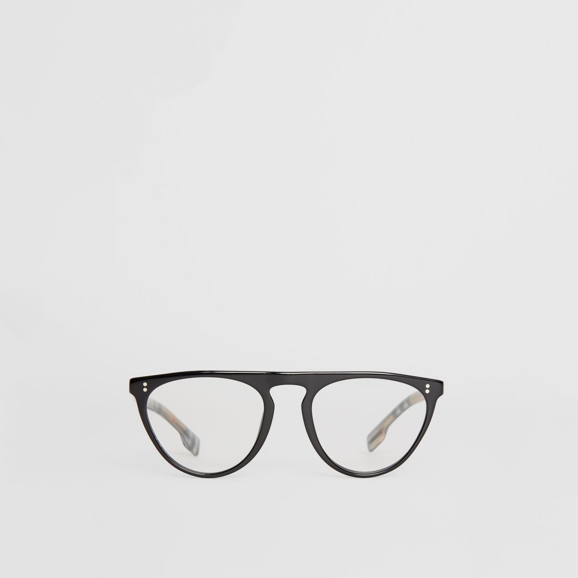 Keyhole D-shaped Optical Frames in Black - Men | Burberry Singapore - gallery image 0