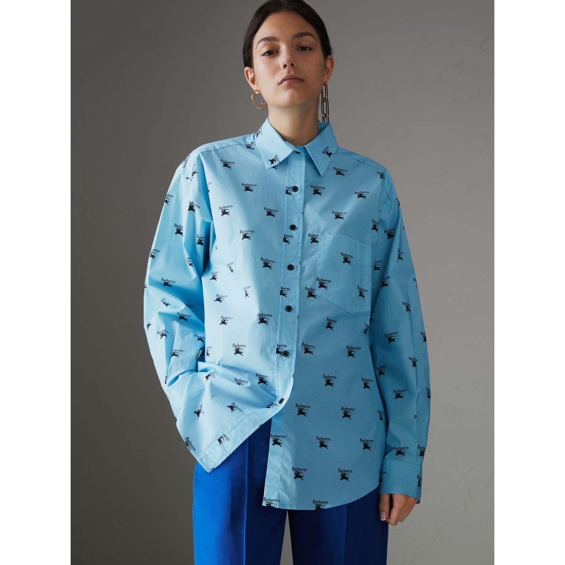 Logo Print Stretch Cotton Shirt in Sky Blue - Women | Burberry United States - gallery image 4