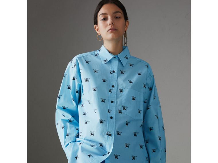 Logo Print Stretch Cotton Shirt in Sky Blue - Women | Burberry - cell image 4