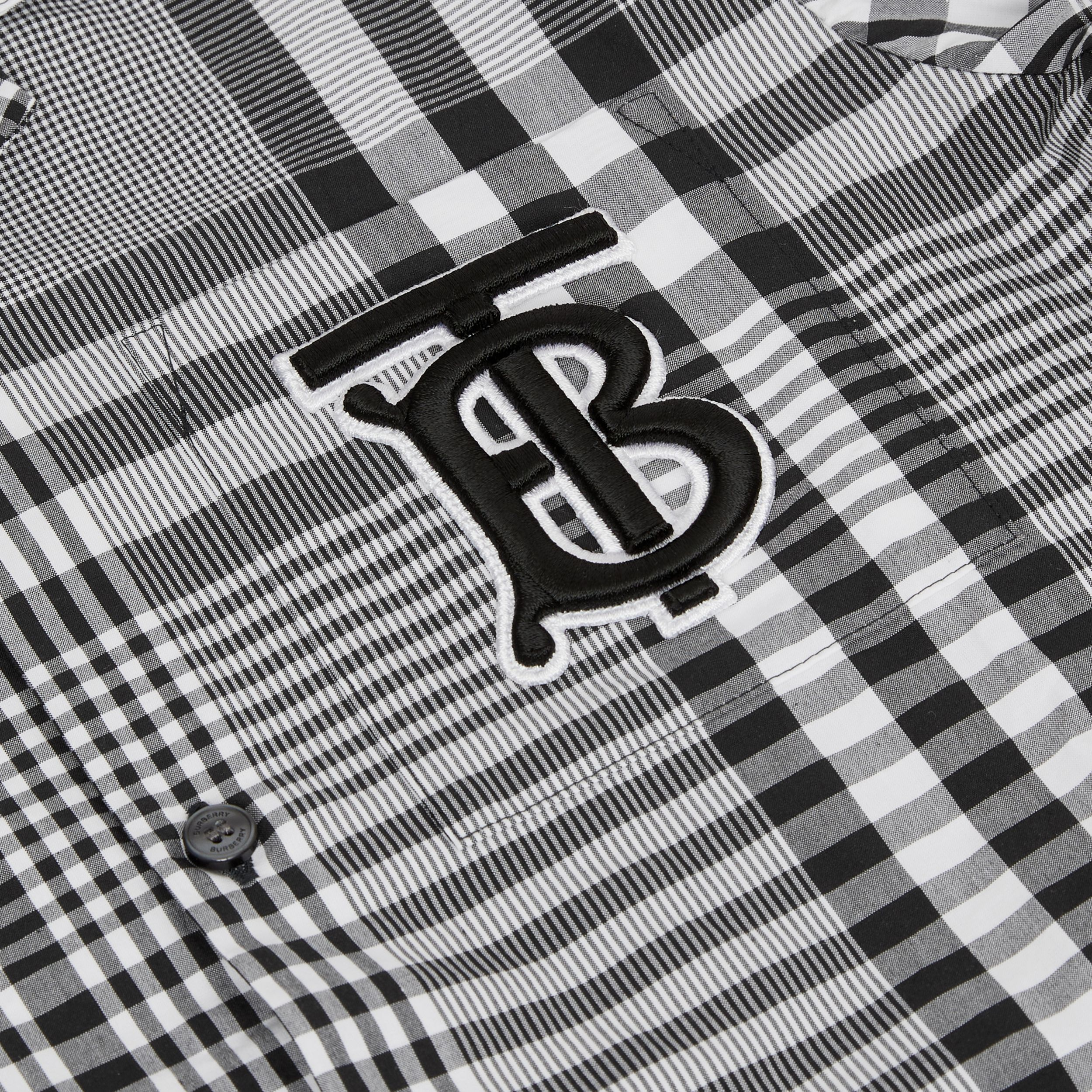 Short-sleeve Monogram Motif Check Cotton Shirt in Black | Burberry - 2