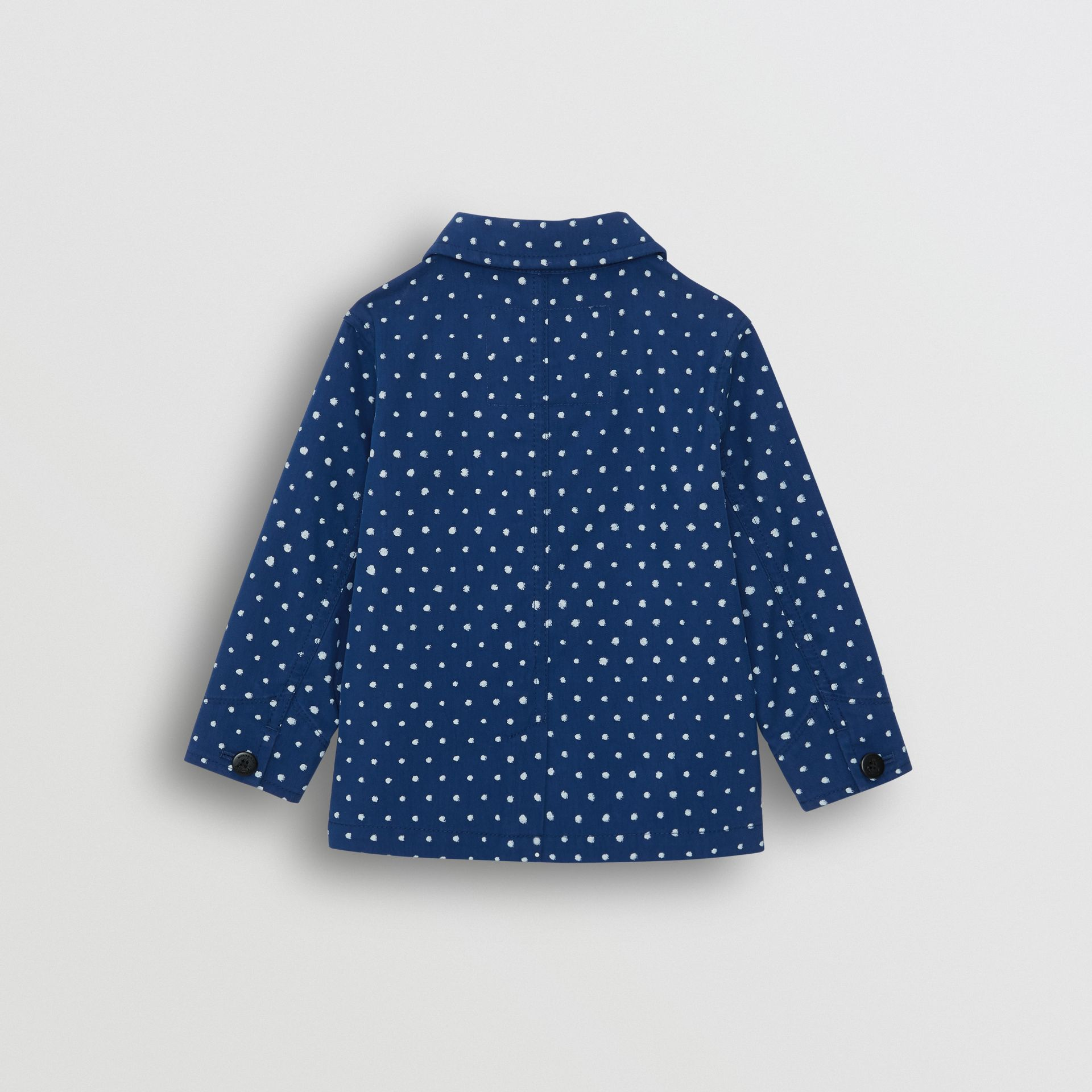 Spot Print Cotton Blend Jacket in Bright Navy - Children | Burberry - gallery image 3