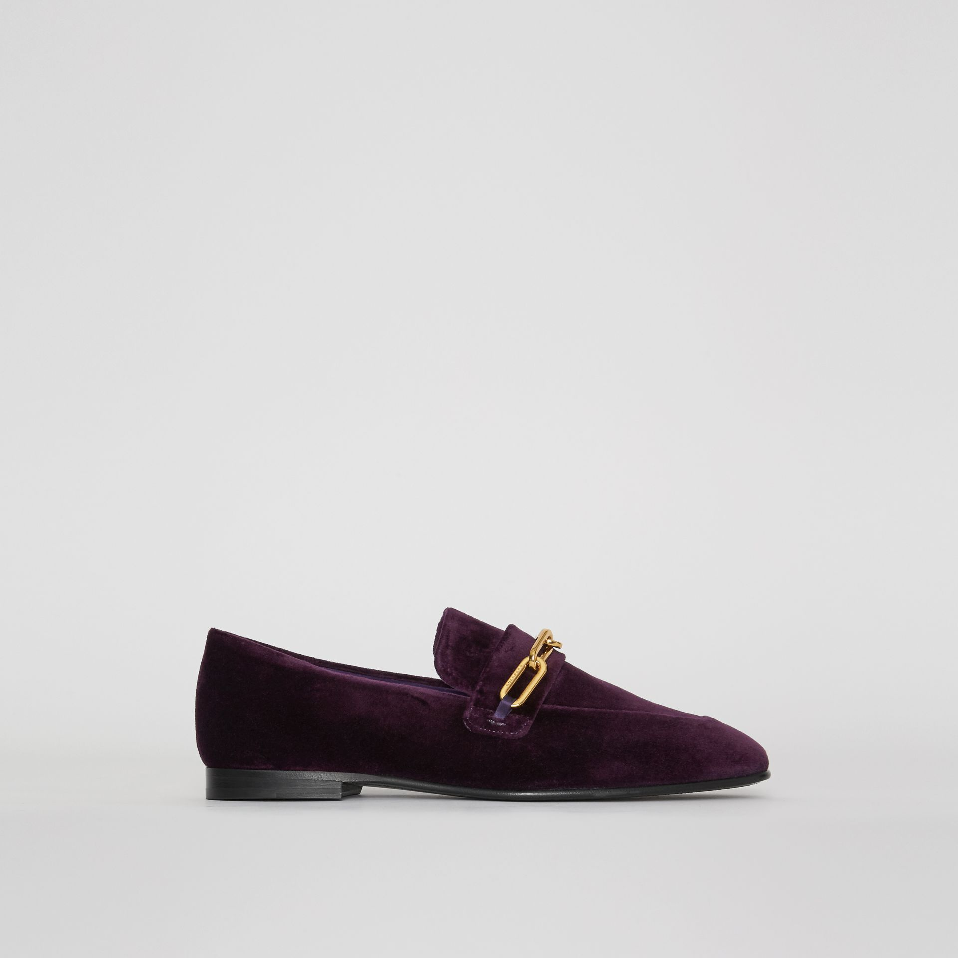 Link Detail Velvet Loafers in Dark Elderberry - Women | Burberry United Kingdom - gallery image 0