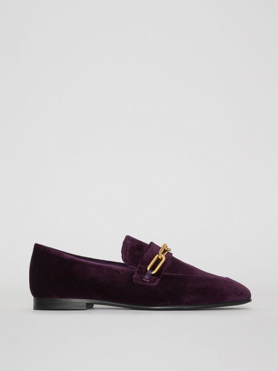 Link Detail Velvet Loafers in Dark Elderberry