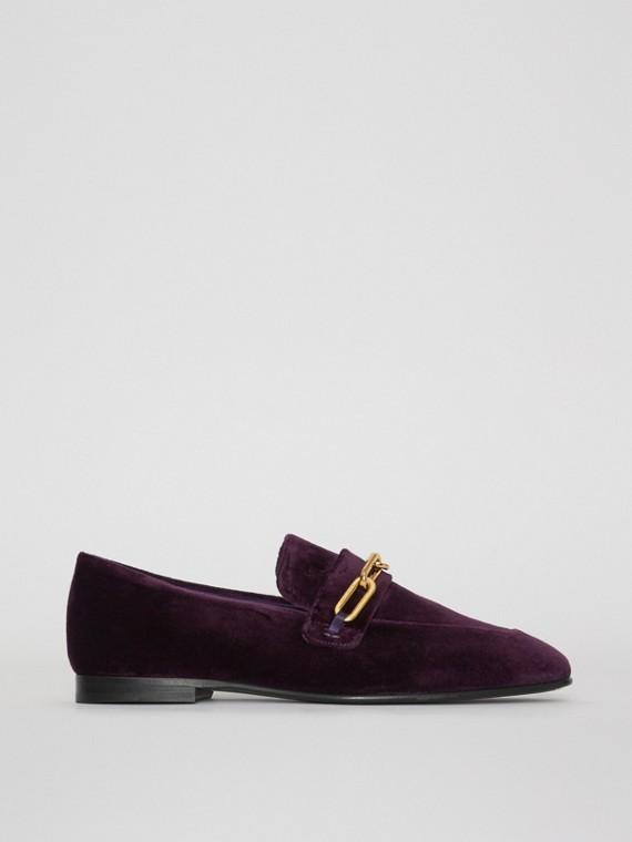 Бархатные туфли-лоферы с декоративной цепочкой (Темная Бузина)