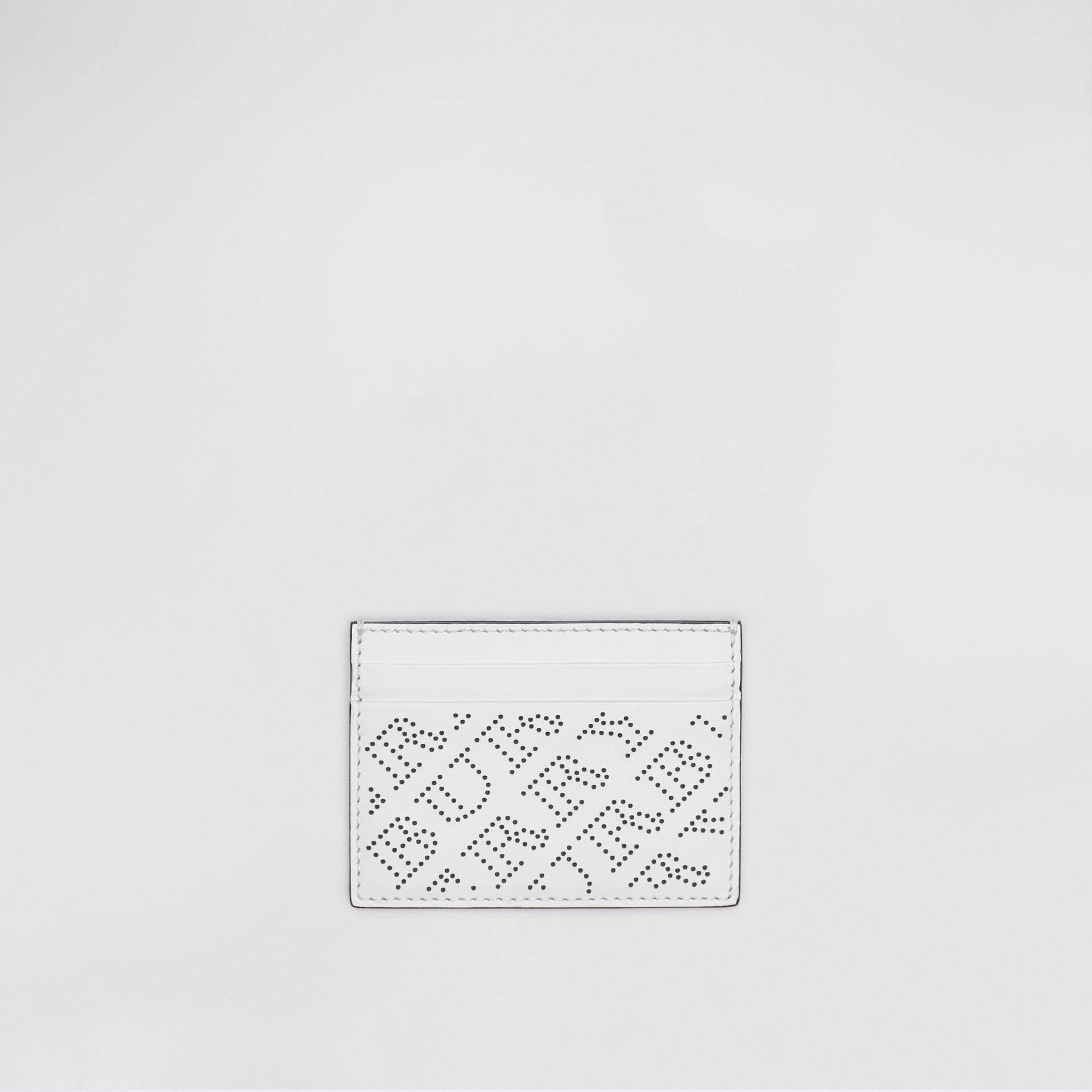 Perforated Logo Leather Card Case in White - Women | Burberry United States - gallery image 0
