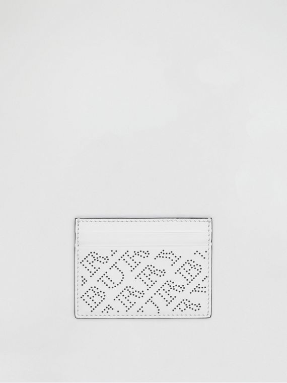 Perforated Logo Leather Card Case in White